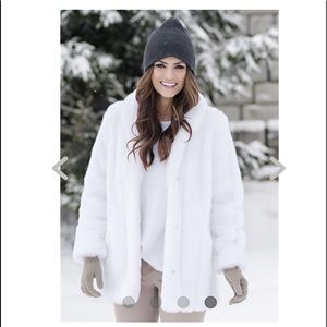 Jackets & Blazers - White Mink Classic Faux Fur Jacket NWOT